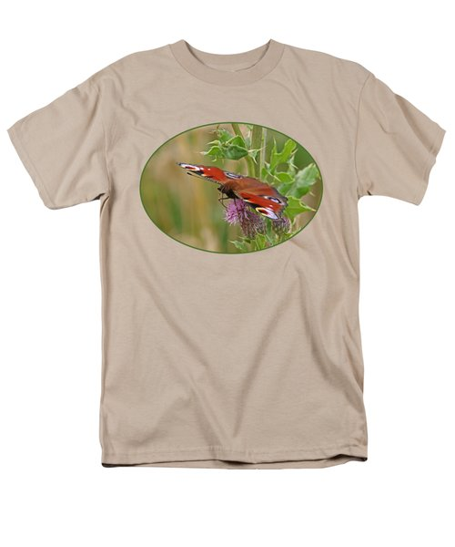 Peacock Butterfly On Thistle Men's T-Shirt  (Regular Fit) by Gill Billington