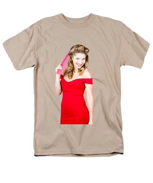 Pin-up Styled Fashion Model With Classic Hairstyle Men's T-Shirt  (Regular Fit) by Jorgo Photography - Wall Art Gallery