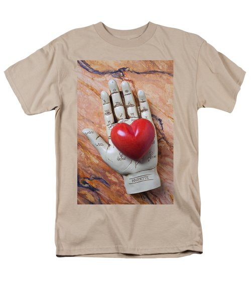 Plam reader hand holding red stone heart T-Shirt by Garry Gay
