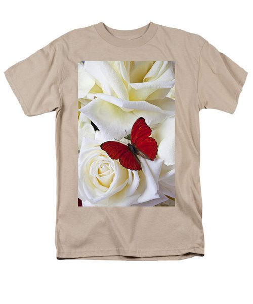 Red butterfly on white roses T-Shirt by Garry Gay
