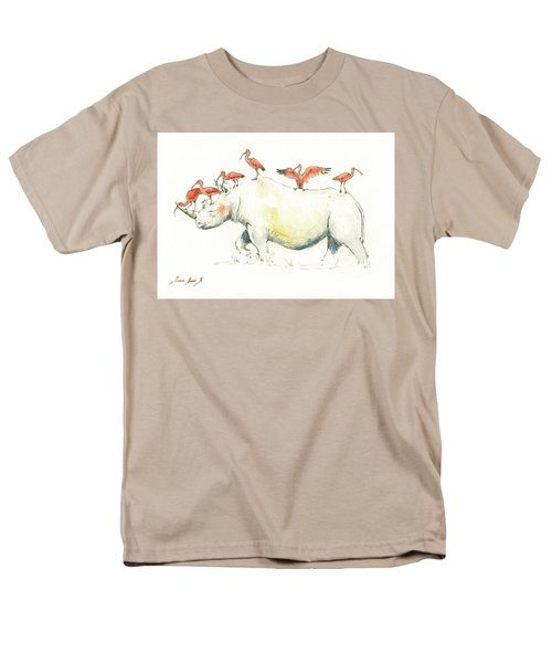 Rhino And Ibis Men's T-Shirt  (Regular Fit) by Juan Bosco