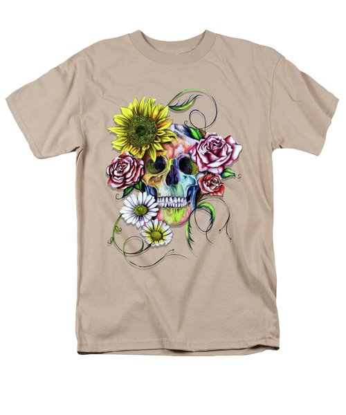 Skull And Flowers Men's T-Shirt  (Regular Fit) by Isabel Salvador