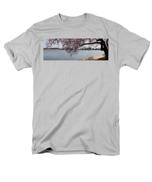Cherry Blossom Trees With The Jefferson Men's T-Shirt  (Regular Fit) by Panoramic Images