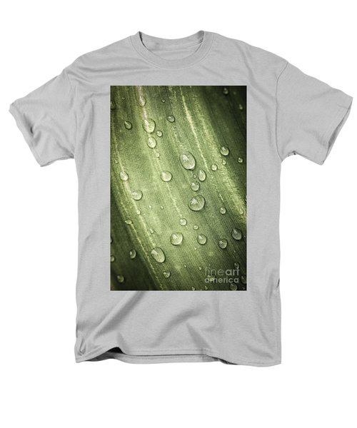 Green leaf with raindrops T-Shirt by Elena Elisseeva