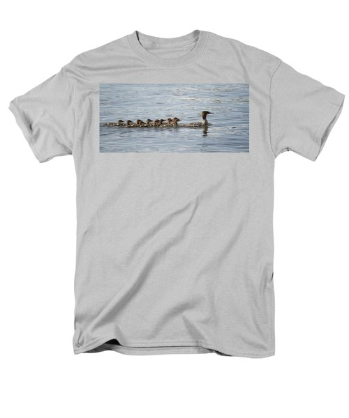 Duck And Ducklings Swimming In A Row T-Shirt by Keith Levit