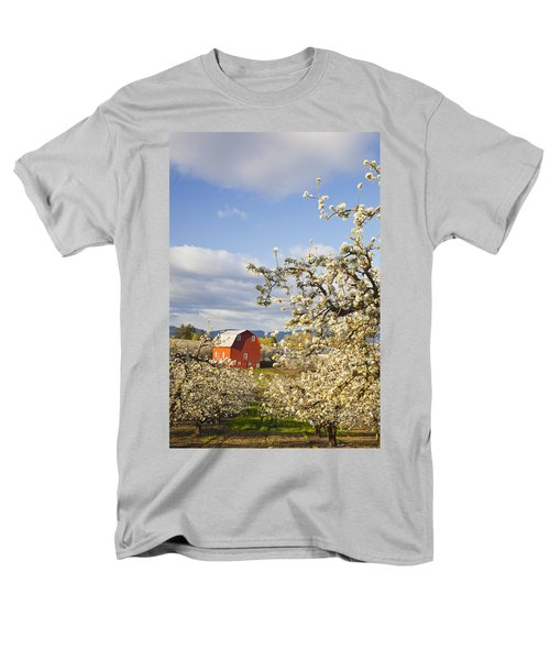 Apple Blossom Trees And A Red Barn In T-Shirt by Craig Tuttle