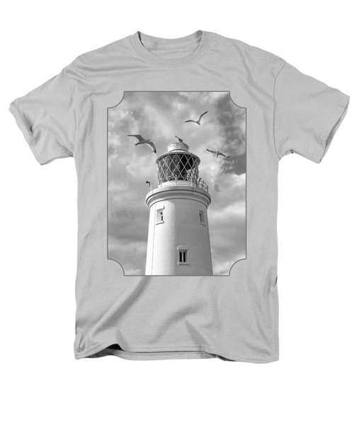 Fly Past - Seagulls Round Southwold Lighthouse In Black And White Men's T-Shirt  (Regular Fit) by Gill Billington