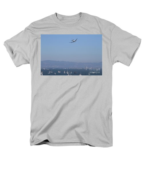 United Airlines Boeing 747 Over The San Francisco Bay At Fleet Week . 7D7860 T-Shirt by Wingsdomain Art and Photography