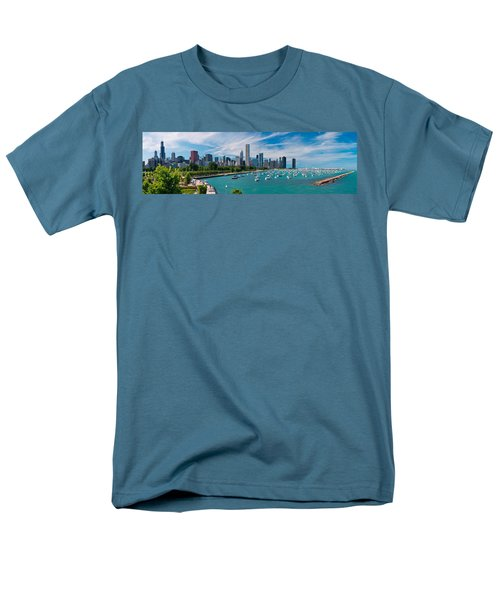 Chicago Skyline Daytime Panoramic Men's T-Shirt  (Regular Fit) by Adam Romanowicz