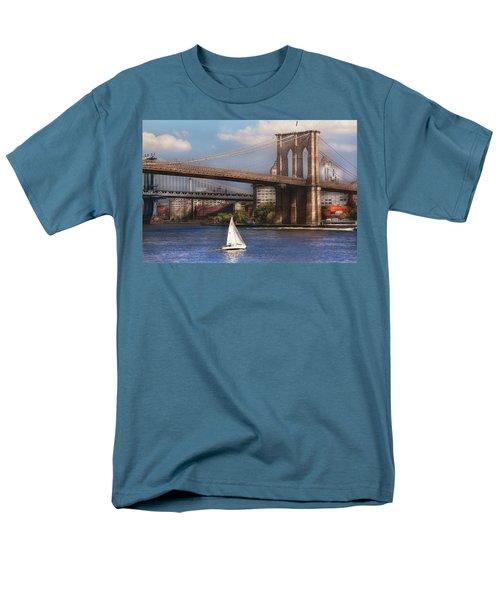 City - NY - Sailing under the Brooklyn Bridge T-Shirt by Mike Savad