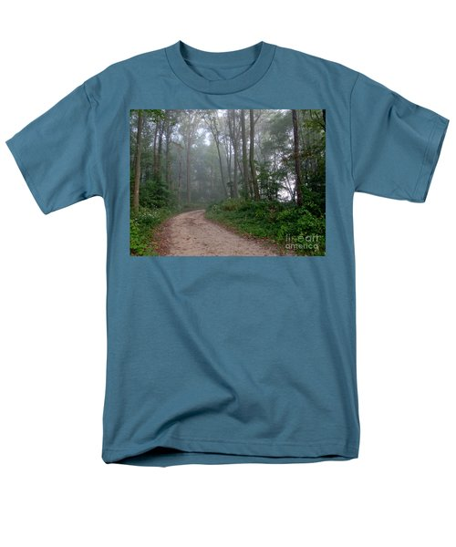 Dirt Path in Forest Woods with Mist T-Shirt by Olivier Le Queinec
