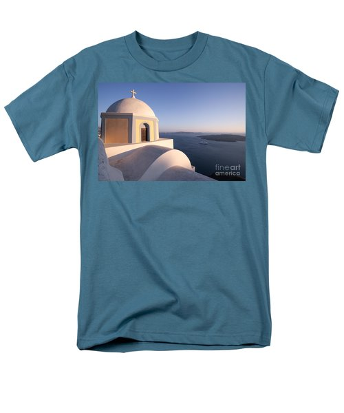 Famous orthodox church in Santorini Greece at sunset T-Shirt by Matteo Colombo