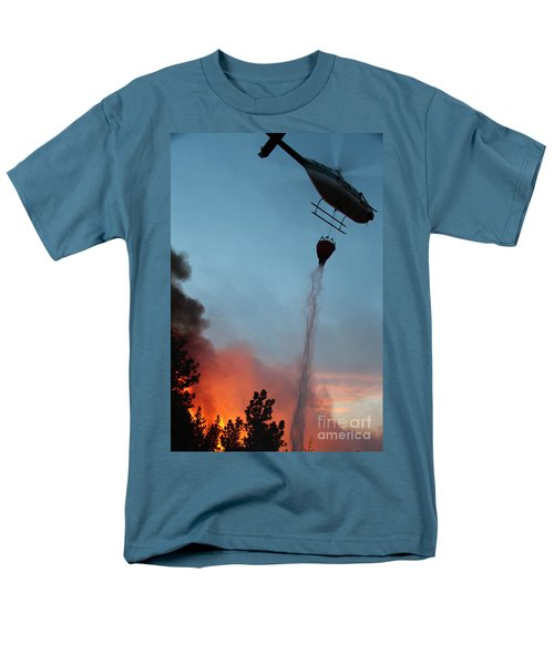 Men's T-Shirt  (Regular Fit) featuring the photograph Helicopter Drops Water On White Draw Fire by Bill Gabbert
