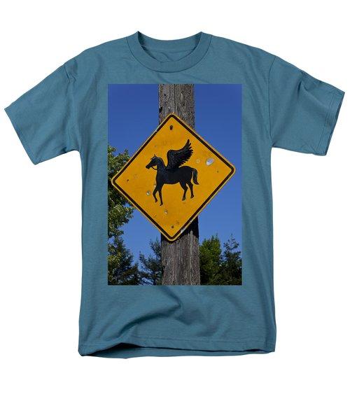 Pegasus Road Sign Men's T-Shirt  (Regular Fit) by Garry Gay