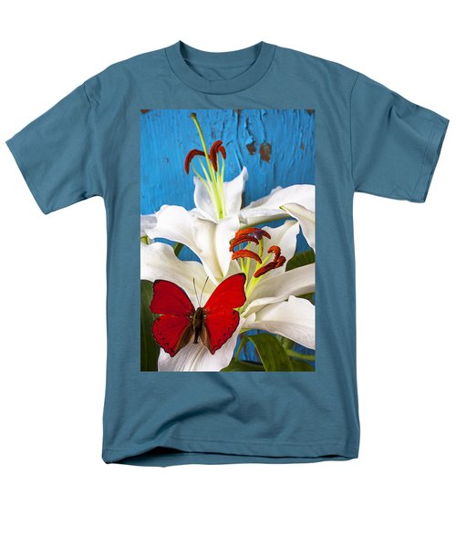 Red butterfly on white tiger lily T-Shirt by Garry Gay