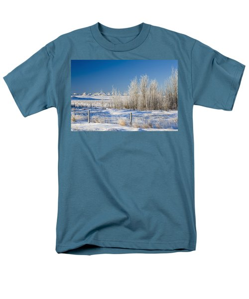 Frost-covered Trees In Snowy Field T-Shirt by Michael Interisano