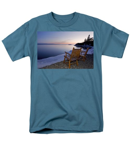 Two Chairs At Waters Edge Looking Out T-Shirt by Susan Dykstra