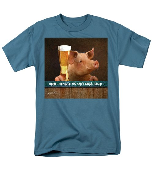 Beer ... Because You Can't Drink Bacon... Men's T-Shirt  (Regular Fit) by Will Bullas