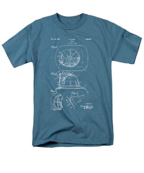 1932 Fireman Helmet Artwork Blueprint Men's T-Shirt  (Regular Fit) by Nikki Marie Smith