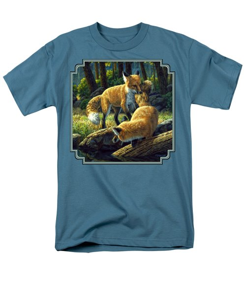 Red Foxes - Sibling Rivalry Men's T-Shirt  (Regular Fit) by Crista Forest