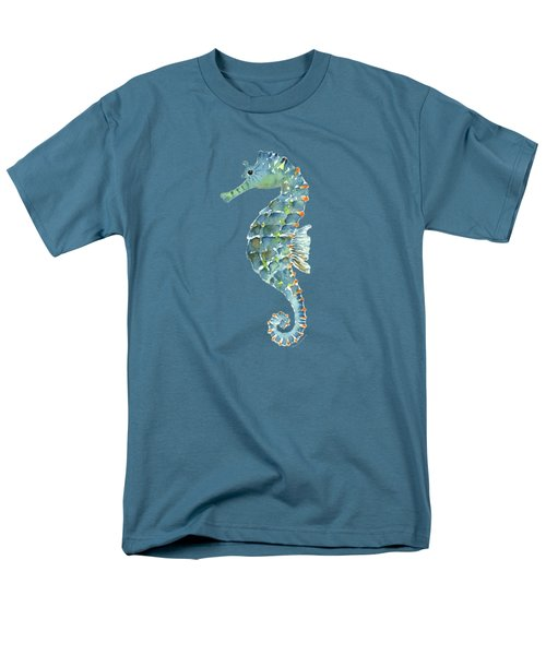 Blue Seahorse Men's T-Shirt  (Regular Fit) by Amy Kirkpatrick