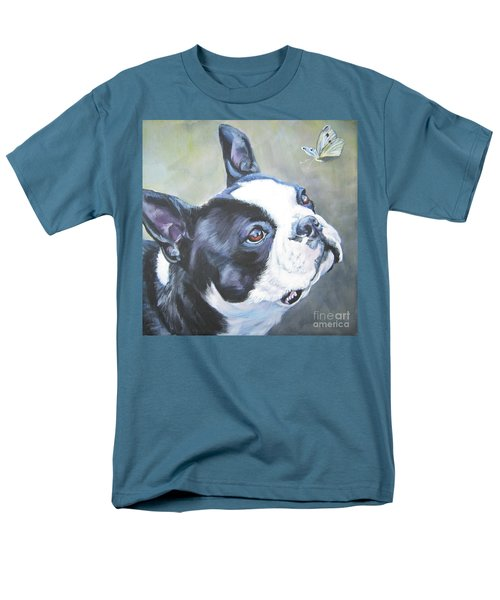 boston Terrier butterfly Men's T-Shirt  (Regular Fit) by Lee Ann Shepard