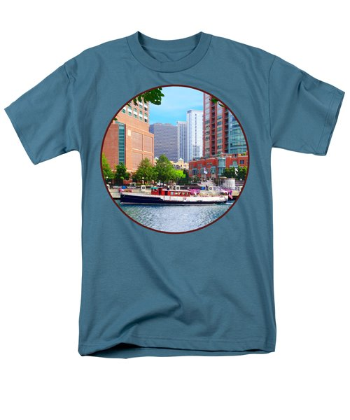 Chicago Il - Chicago River Near Centennial Fountain Men's T-Shirt  (Regular Fit) by Susan Savad