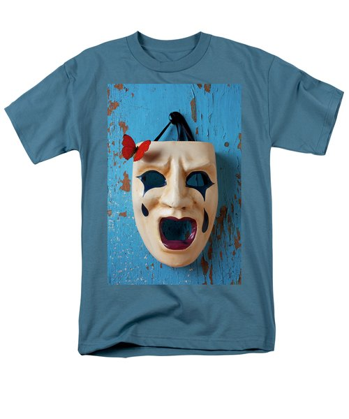 Crying mask and red butterfly T-Shirt by Garry Gay