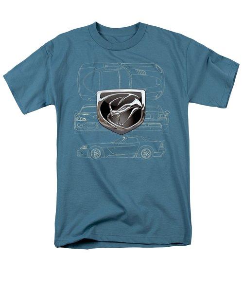 Dodge Viper  3 D  Badge Over Dodge Viper S R T 10 Blueprint  Men's T-Shirt  (Regular Fit) by Serge Averbukh
