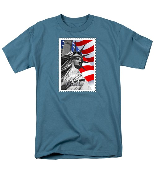 Graphic Statue Of Liberty With American Flag Text Usa Men's T-Shirt  (Regular Fit) by Elaine Plesser