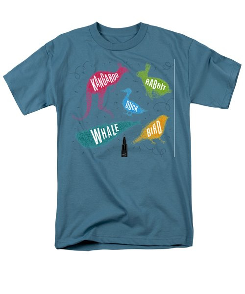 Kangaroo - Rabbit - Duck - Whale - Bird In Colors Men's T-Shirt  (Regular Fit) by Aloke Design