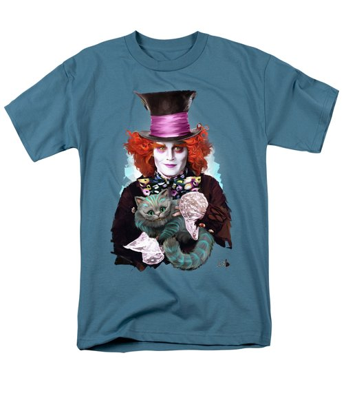 Mad Hatter And Cheshire Cat Men's T-Shirt  (Regular Fit) by Melanie D