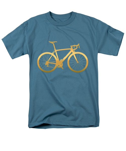 Road Bike Silhouette - Gold On Beige Canvas Men's T-Shirt  (Regular Fit) by Serge Averbukh