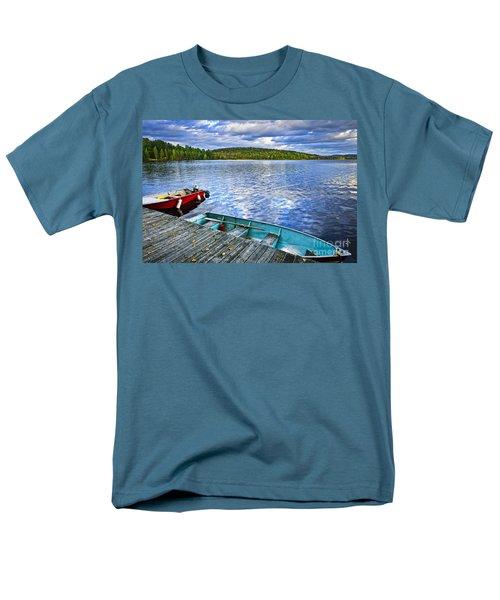 Rowboats on lake at dusk T-Shirt by Elena Elisseeva