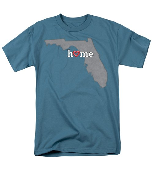 State Map Outline Florida With Heart In Home Men's T-Shirt  (Regular Fit) by Elaine Plesser