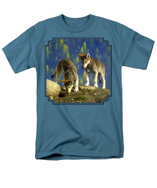 Wolf Pups - Anybody Home Men's T-Shirt  (Regular Fit) by Crista Forest