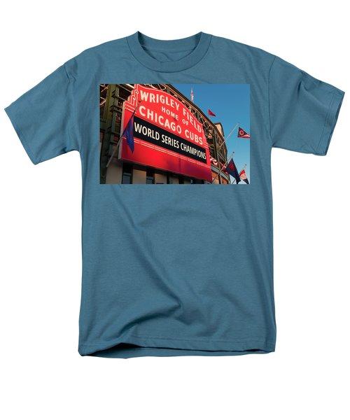 Wrigley Field World Series Marquee Angle Men's T-Shirt  (Regular Fit) by Steve Gadomski