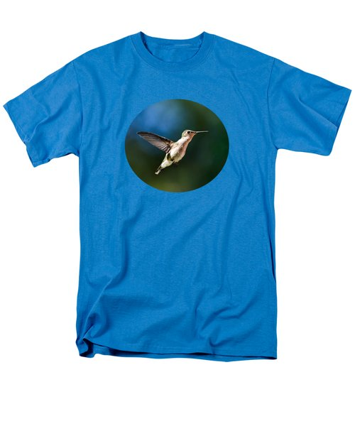 Ruby-throated Hummingbird And Pink Verbena Men's T-Shirt  (Regular Fit) by Christina Rollo