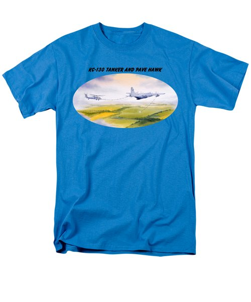 Kc-130 Tanker Aircraft And Pave Hawk With Banner Men's T-Shirt  (Regular Fit) by Bill Holkham