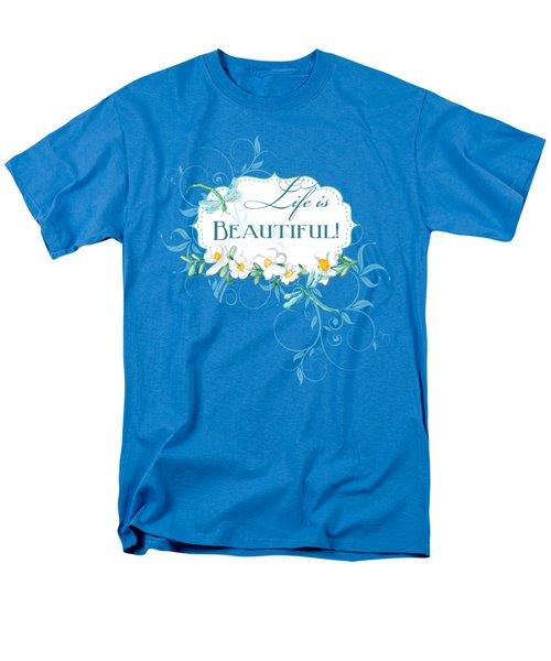 Life Is Beautiful - Dragonflies N Daisies W Leaf Swirls N Dots Men's T-Shirt  (Regular Fit) by Audrey Jeanne Roberts