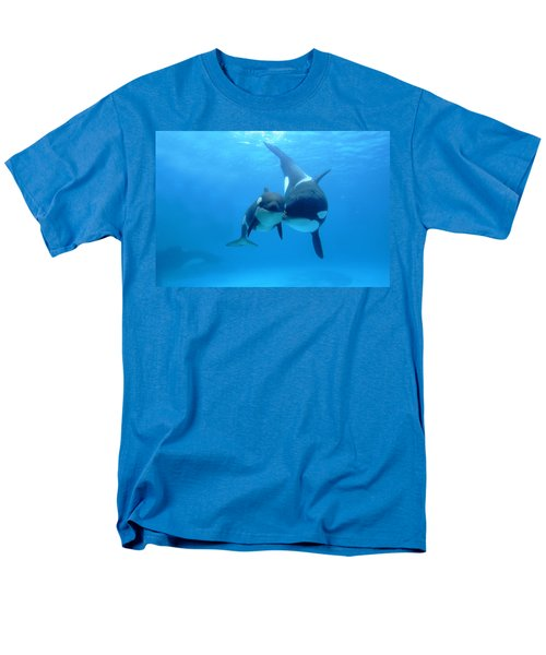 Orca Orcinus Orca Mother And Newborn T-Shirt by Hiroya Minakuchi