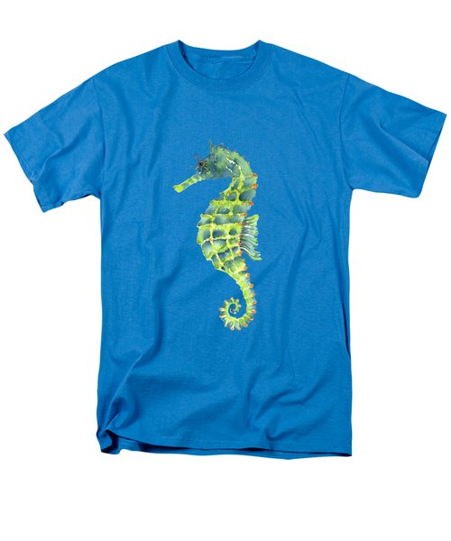 Teal Green Seahorse - Square Men's T-Shirt  (Regular Fit) by Amy Kirkpatrick