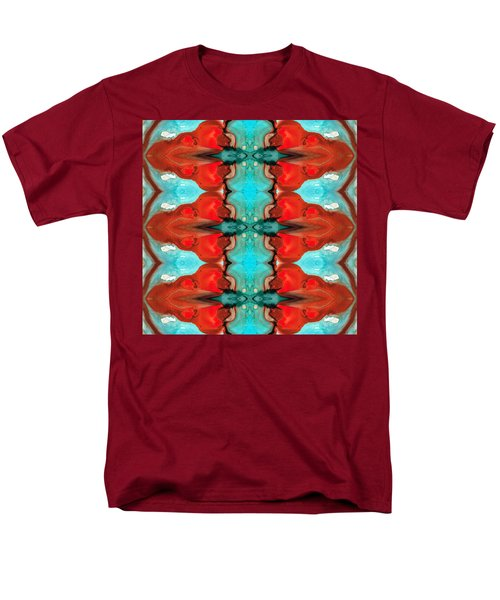 Color Chant - Red and Aqua Pattern Art By Sharon Cummings T-Shirt by Sharon Cummings