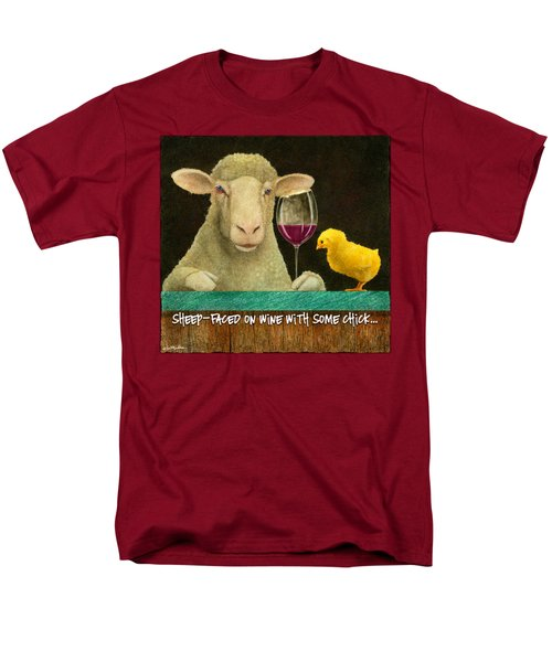 Sheep Faced On Wine With Some Chick... Men's T-Shirt  (Regular Fit) by Will Bullas