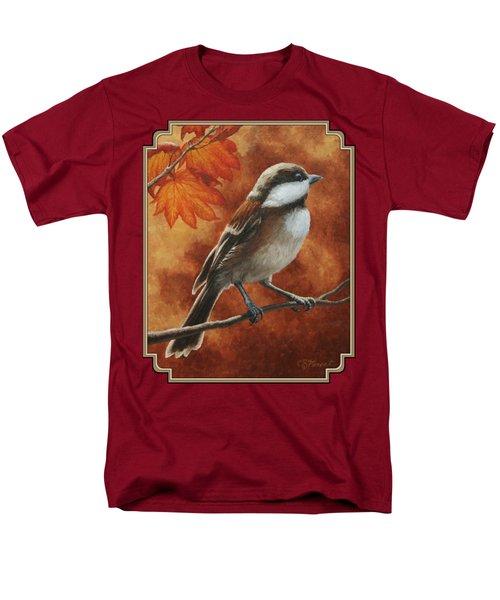 Autumn Chickadee Men's T-Shirt  (Regular Fit) by Crista Forest