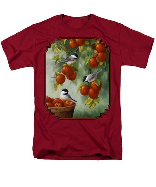 Bird Painting - Apple Harvest Chickadees T-Shirt by Crista Forest