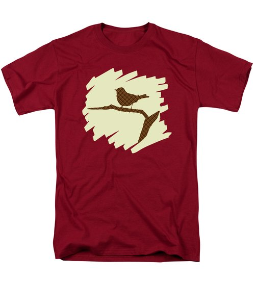 Brown Bird Silhouette Modern Bird Art Men's T-Shirt  (Regular Fit) by Christina Rollo