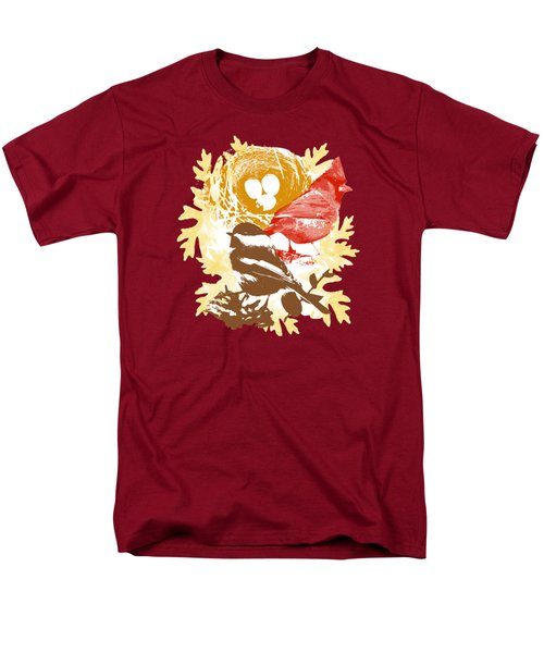 Cardinal Chickadee Birds Nest With Eggs Men's T-Shirt  (Regular Fit) by Christina Rollo
