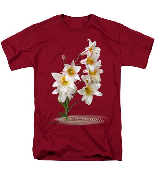 Cascade Of Lilies On Black Men's T-Shirt  (Regular Fit) by Gill Billington