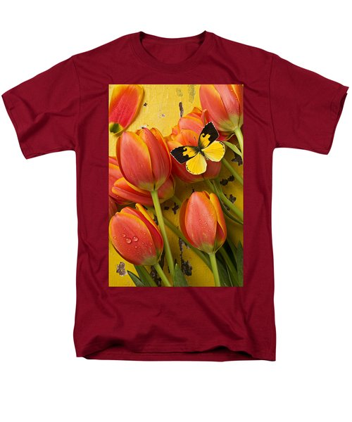 Dogface butterfly and tulips T-Shirt by Garry Gay